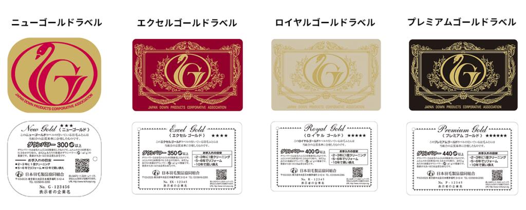 日本羽毛製品協同組合のゴールドラベル